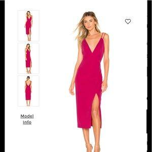 NBD REVOLVE hot pink plunge back side slit dress S